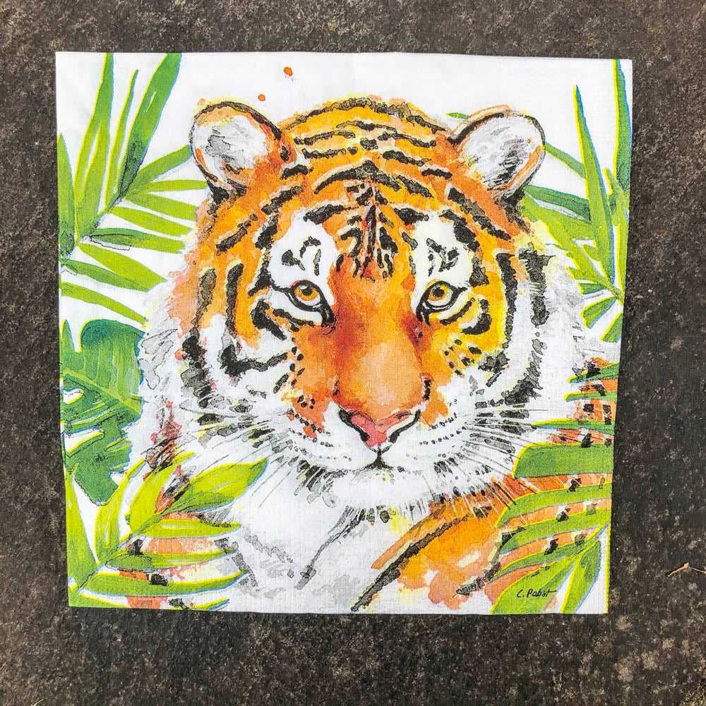 Napkin for Decoupage Coloured Tiger NZ