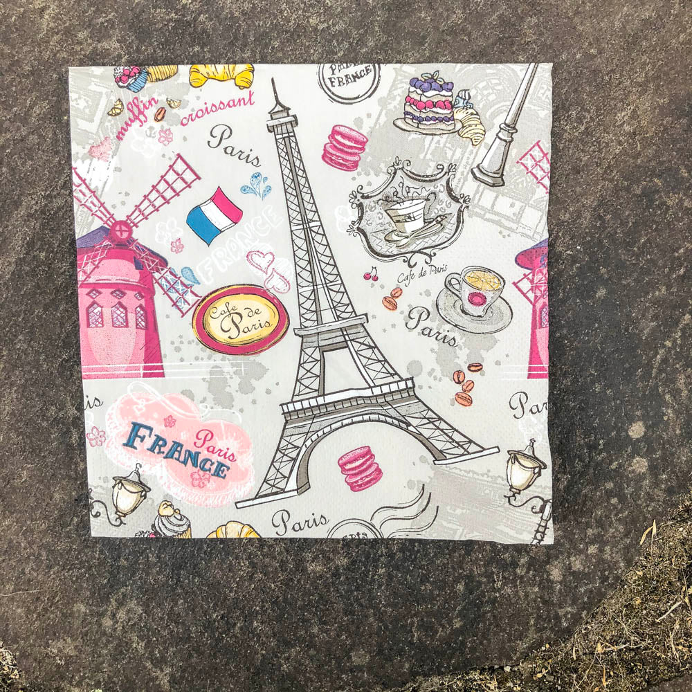 Napkin for Decoupage Eiffel Cafe de Paris NZ