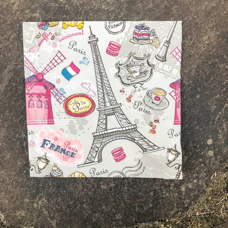 Napkin for Decoupage Eiffel Cafe de Paris