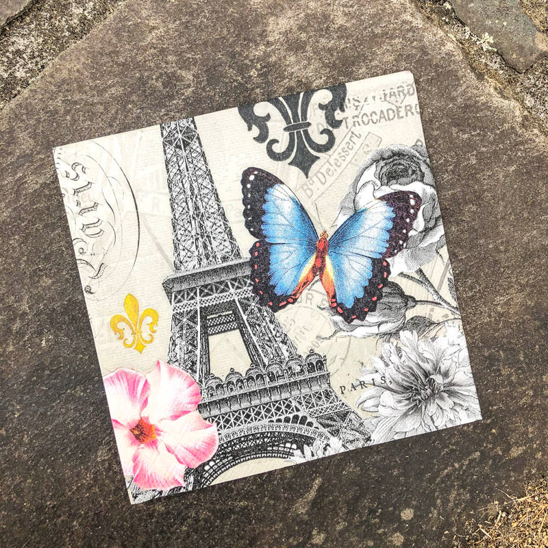 Napkin for Decoupage Eiffel Tower with Blue Butterfly NZ