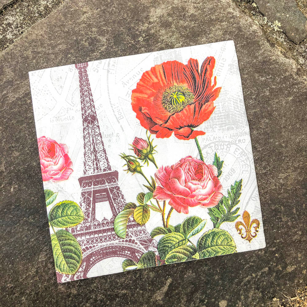 Napkin for Decoupage Eiffel Tower with Poppy NZ