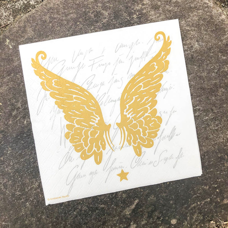 Napkin for Decoupage Gold Angel Wings NZ