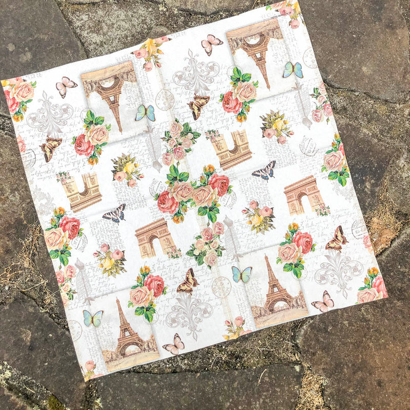 Napkin for Decoupage Eiffel Tower & Fleur de lys Flowers NZ