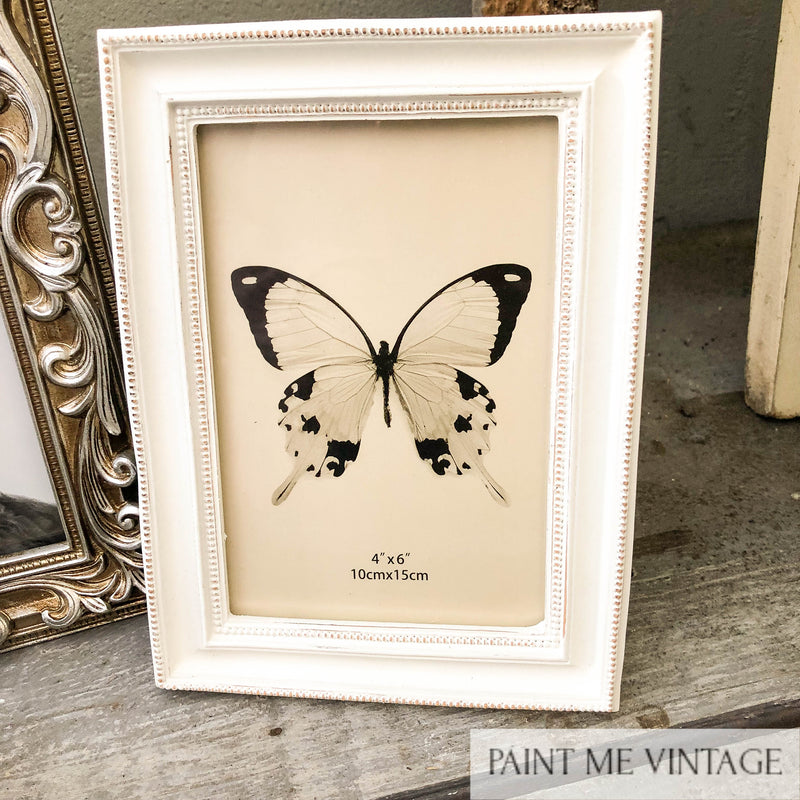 Dotted Edge Antique White Large Picture Frame