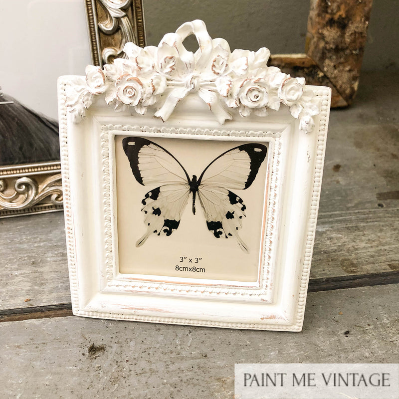 Bow and scroll Square Antique White Picture Frame
