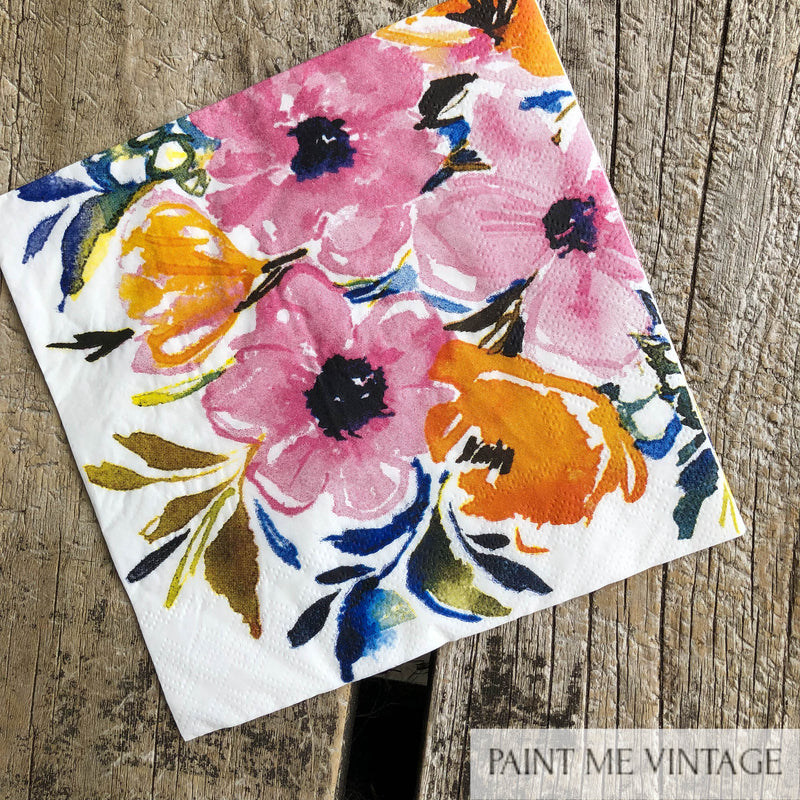 Napkin for Decoupage Water colour flowers