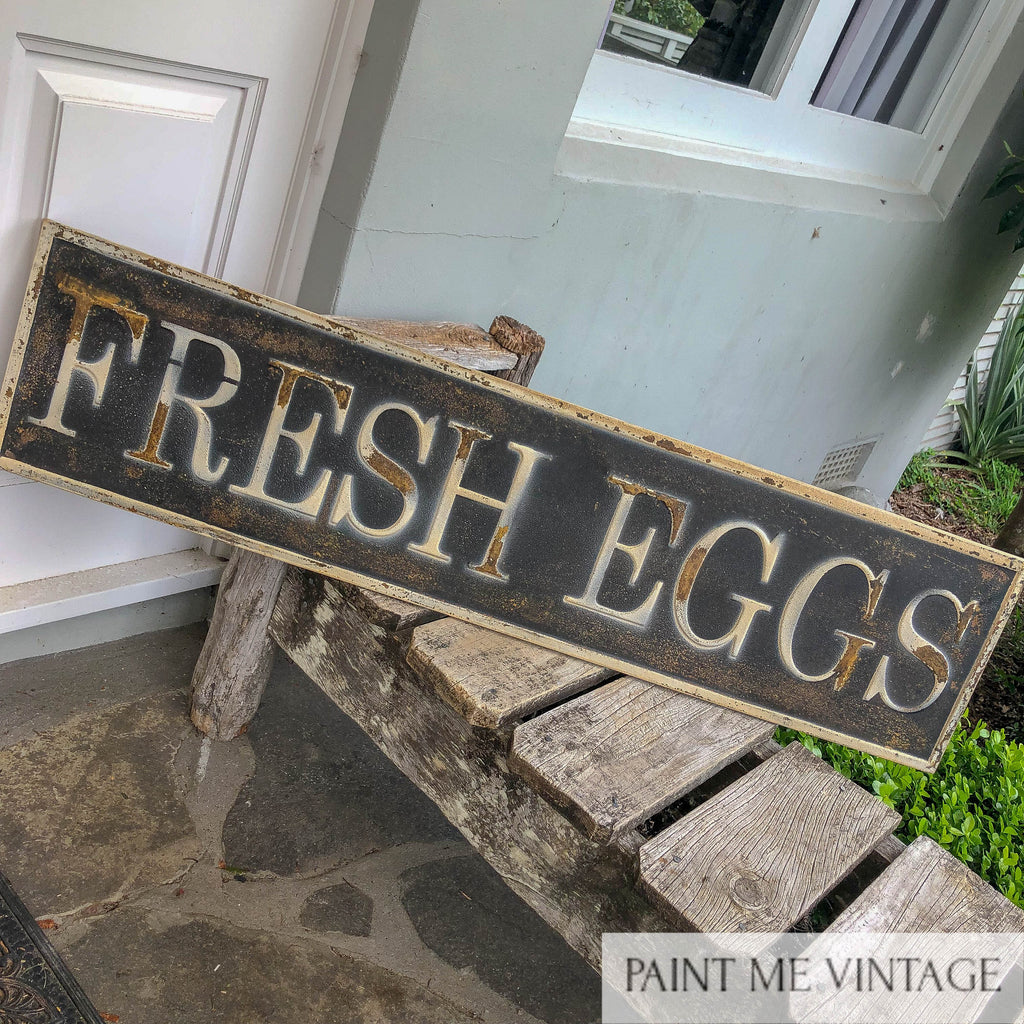 Fresh Eggs Metal Sign Large