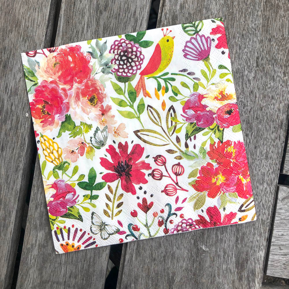 Flower Confetti Napkin for Decoupage