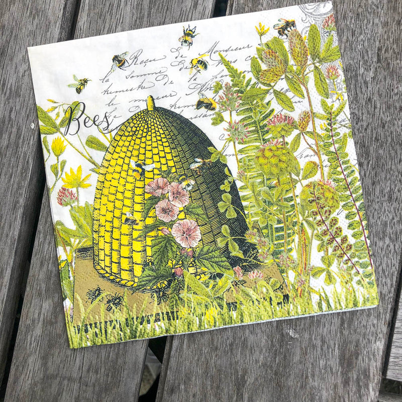 Honey & Beehive Napkin for Decoupage