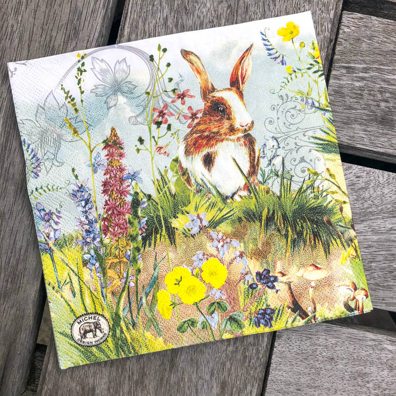 Bunnies Napkin for Decoupage