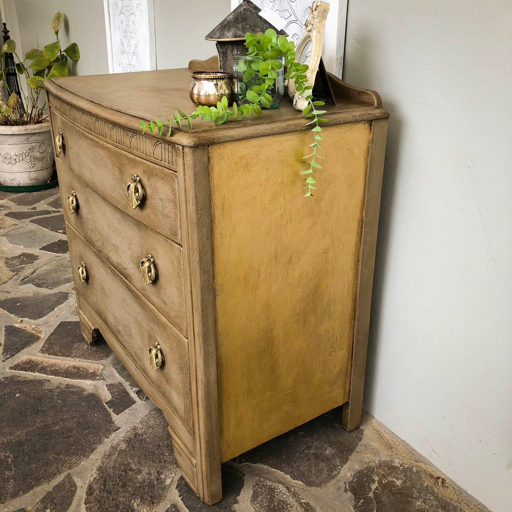 Stonebreaker Dark Wax and Gold Dresser - not available