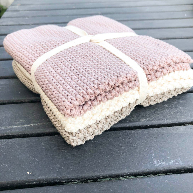 Wash cloths knitted Blush