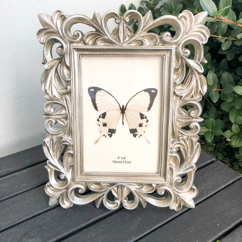 Open Filigree Antique Champagne Picture Frame