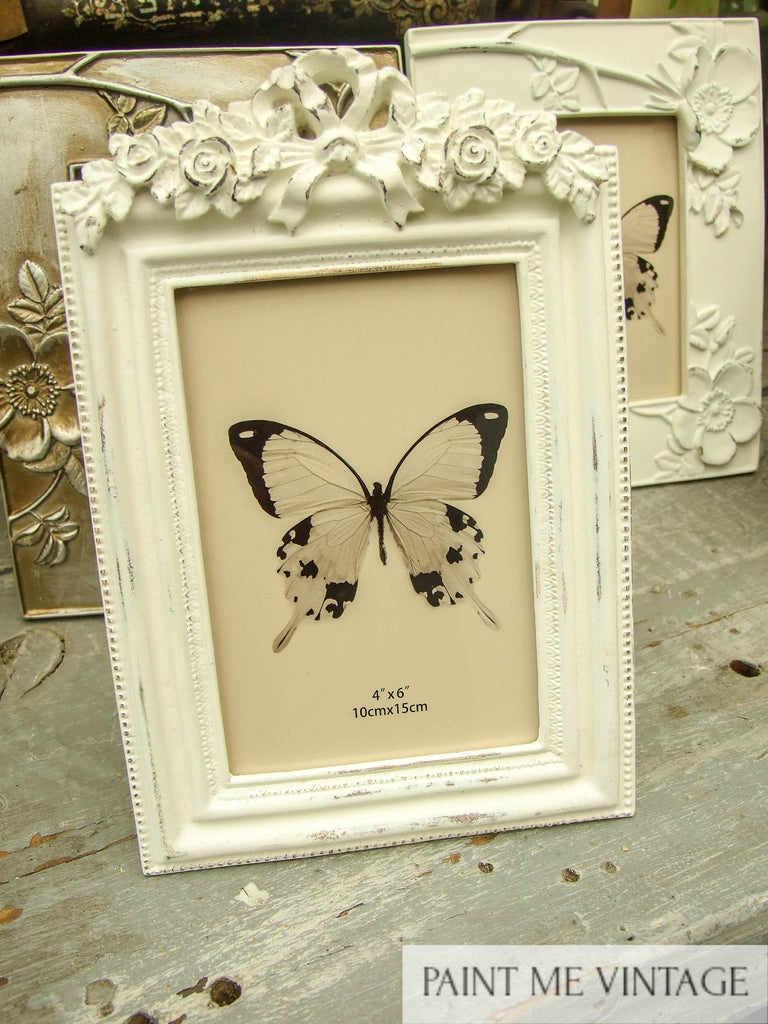 Bow & Scroll Antique White Picture Frame
