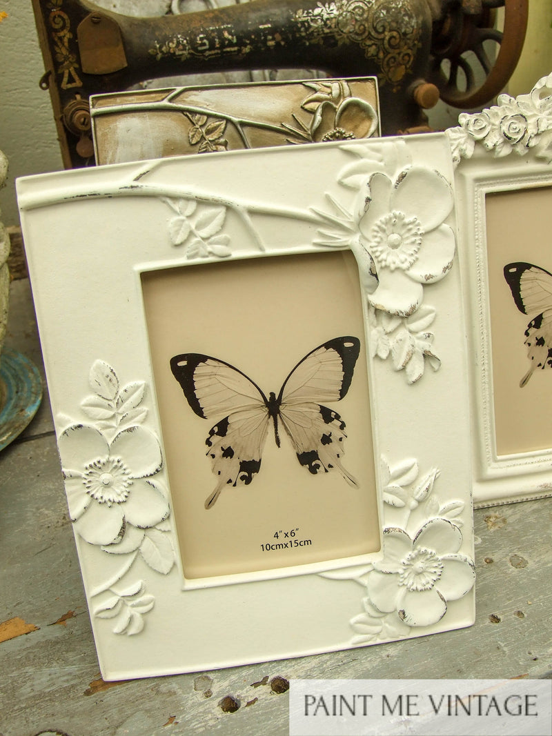 Floral Antique White Picture Frame