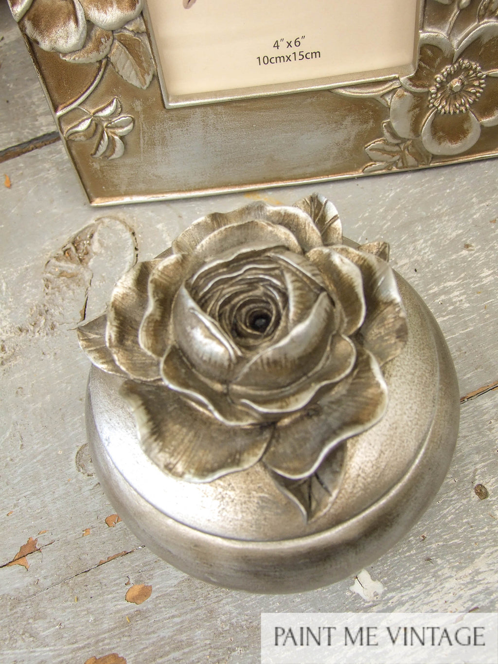 Rose top box Antique Champagne