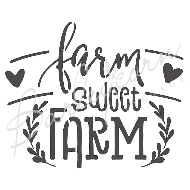 Farm Sweet Farm Stencil large | Paint Me Vintage | Tauranga, New Zealand | chalk paint | chalkpaint | furniture painting | vintage paint | stencils | IOD | Iron Orchid Design | furniture transfers | workshops | where to buy stencils | stencils for sale nz | plastic stencils nz | craft stencils nz | Farm Sweet Farm Stencil large