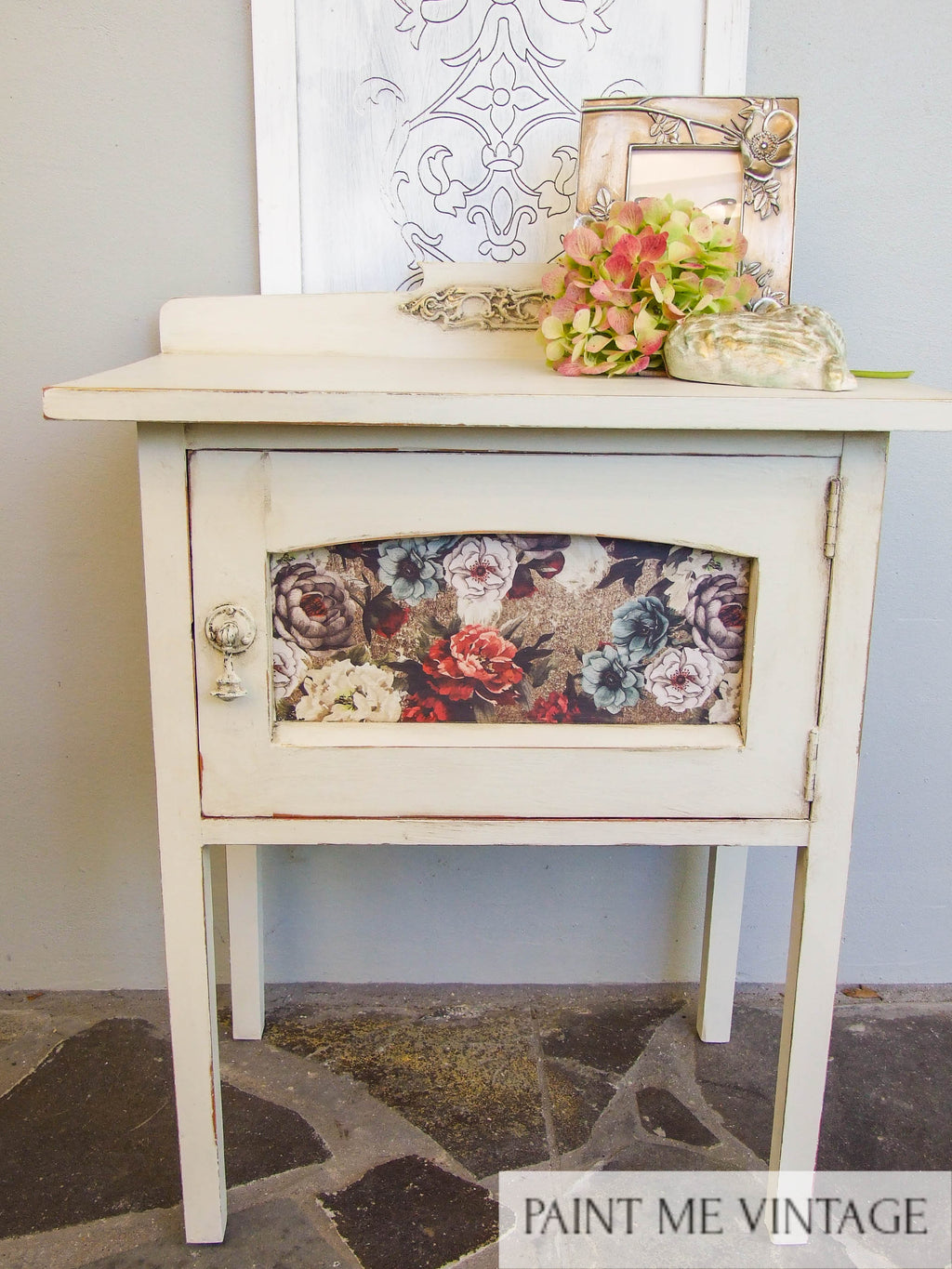 Yorkshire Stone Rustic Cabinet with Tea Rose Garden transfer - commission