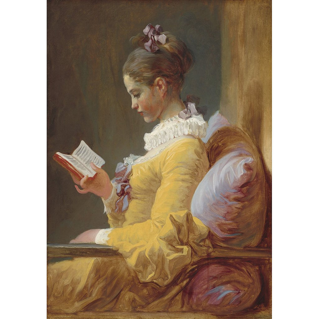 young girl reading decoupage paper A3