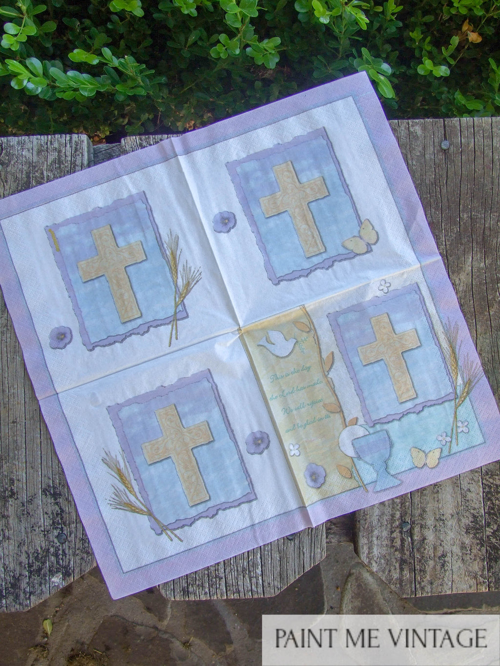 Napkin for Decoupage Psalm Images with Cross | Paint Me Vintage | Tauranga, New Zealand | chalk paint | chalkpaint | silicone mould | furniture painting | vintage paint | stencils | IOD | Iron Orchid Design | coloured wax | furniture wax | furniture transfers | workshops | vintage paint nz | painting old furniture nz | upcycling furniture nz | vintage paint stockists | Napkin for Decoupage Psalm Images with Cross