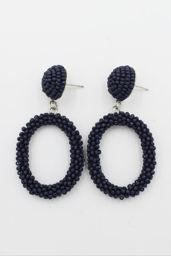 Earrings Navy Beaded