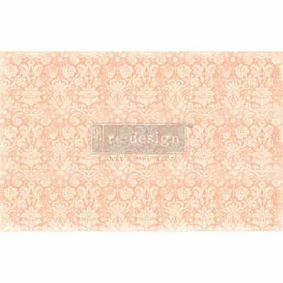Peach Damask Mulberry Tissue Paper for Decoupage