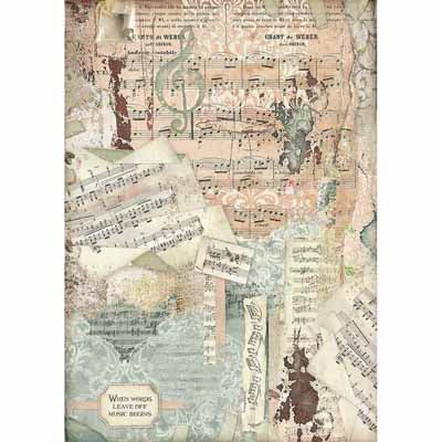 Music Notes Rice Paper for Decoupage A3