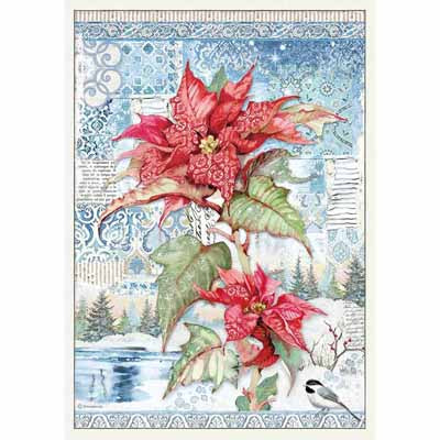 Poinsettia Red Rice Paper for Decoupage A3