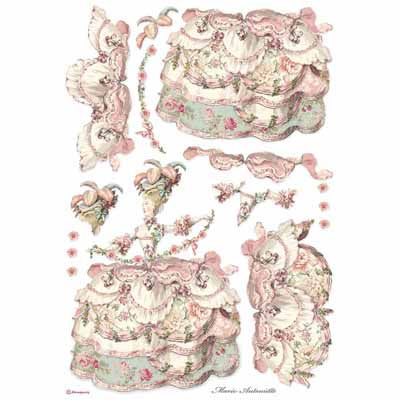 Lady Renaissance Pink Rice Paper for Decoupage A3