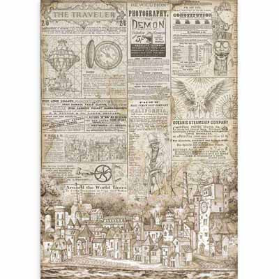 The Traveler Newspaper Sir Vagabond Rice Paper for Decoupage A3