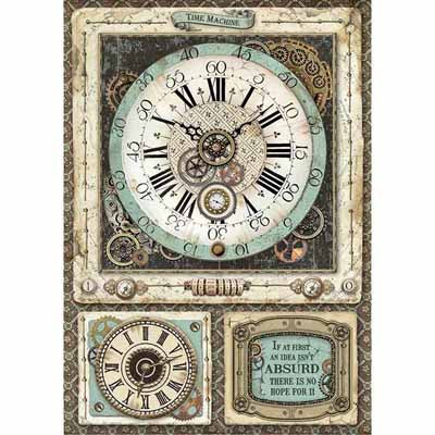 Fantasy Clocks Rice Paper for Decoupage A4