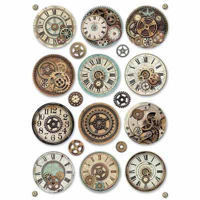 Fantasy Clock Gears Rice Paper for Decoupage A4