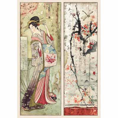 Rice Paper for Decoupage A4 Japanese Geisha & Cherry Blossom nz