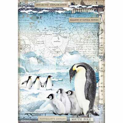 Penguins Rice Paper for Decoupage A4