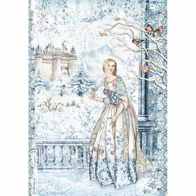 Fairy in Snow Rice Paper for Decoupage A4