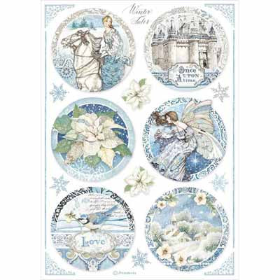 Blue Castle Tags Rice Paper for Decoupage A4