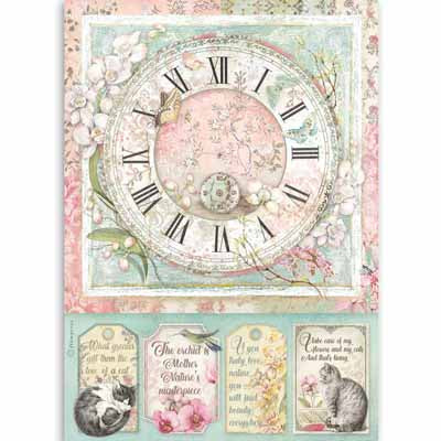 Clock Pets Paper for Decoupage A4