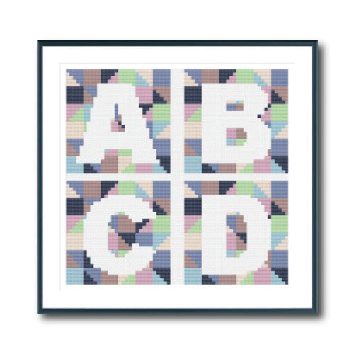 Blue Geometric Alphabet