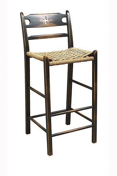 Cloverleaf Bar With A Woven Sea Grass Seat | Wood Ladderback Bar Chair