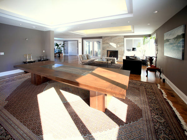 The Wood, Metal + Glass Table | Contemporary Over sized Dining Table