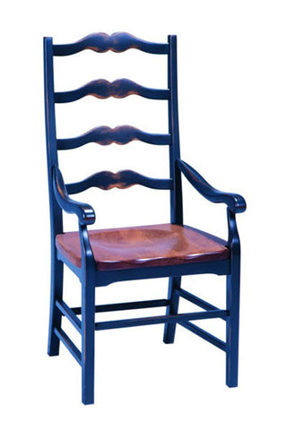 Ladder Back Arm Chair With A Pine Seat