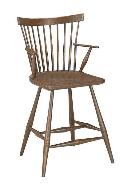 Low Fan Back Bar Chair With Arms | Contemporary Wood Windsor Bar Chair