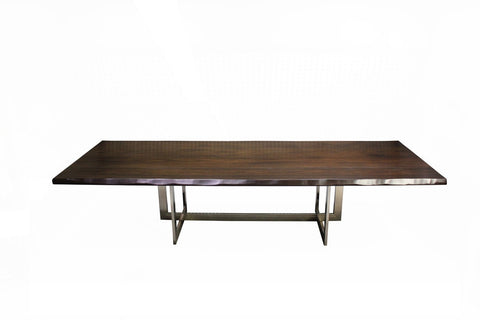 Linear Live Edge Rectangular Table | Linear Metal Base Live Edge Maple