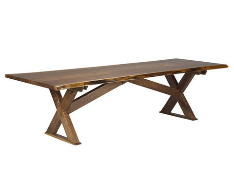 Solid Walnut Live Edge Sawbuck Table | Live Edge Rustic X- Base Table