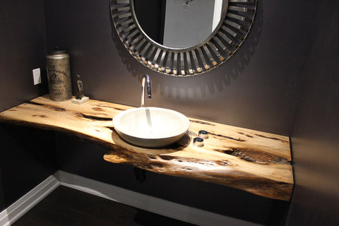 Live Edge Rustic Modern Vanity | Live Edge Bathroom Vanity Counter Top