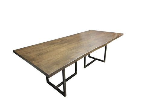Woburn Table | Contemporary Live Edge Slab + Metal Base Dining Table ...