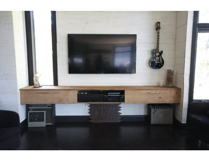 Reclaimed Pine Entertainment Console | Floating Rustic Media Unit