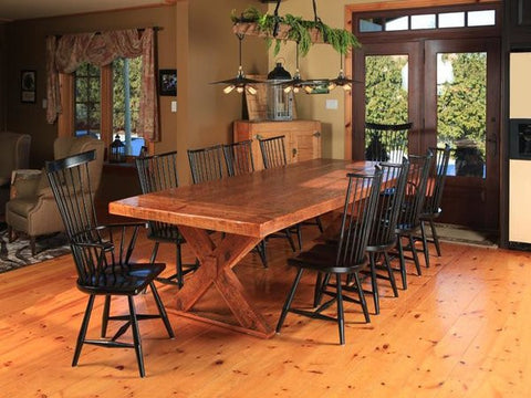 Reclaimed Sawbuck Table | X Base Rectangular Rustic Chic Dining Table