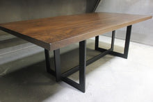 Load image into Gallery viewer, Contemporary Metal and Walnut Rectangular Dining Table