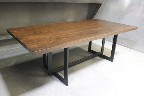 Contemporary Metal and Walnut Rectangular Dining Table